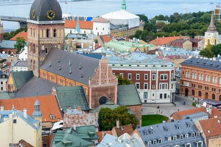 Panorama of the city of Riga, Latvia. View from the Saint Peters church in Riga, Latvia Stock Photo