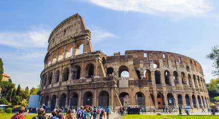 Colosseum, Rome, Italy.  Construction of the Colosseum began under the rule of the Emperor Vespasian[5] in around 70–72 AD, funded by the spoils taken from the Jewish Temple after the Siege of Jerusalem.