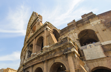 Colosseum, Rome, Italy. The Colosseums original Latin name was Amphitheatrum Flavium, often anglicized as Flavian Amphitheater.