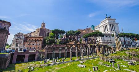 Actual site of the Roman forum, Italy Stock Photo