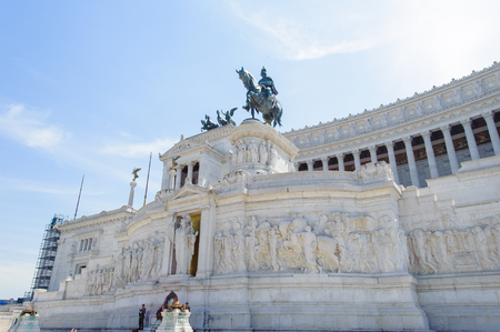 Part of the Altar of the Fatherland built in honour of Victor Emmanuel, the first king of a unified Italy, located in Rome, Italy