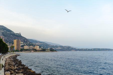 Architecture of Monte Carlo, Monaco. Monte Carlo is host to the Formula One Monaco Grand Prix,  European Poker Tour Grand Final, UEFA Supercup and other Stock Photo