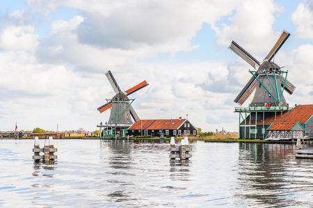 Windmills of Zaanse Schans, quiet village in Netherlands, province North Holland Stock Photo