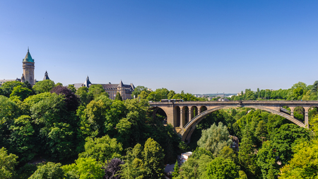 Adolphe Bridge, an arch bridge in Luxembourg City, in southern Luxembourg.