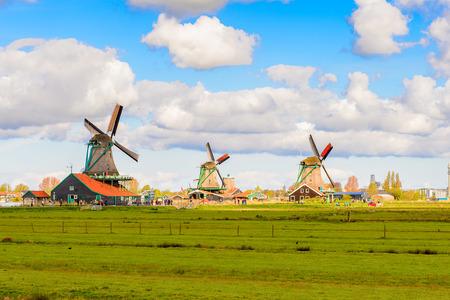 Windmills of Zaanse Schans, quiet village in Netherlands Stock Photo
