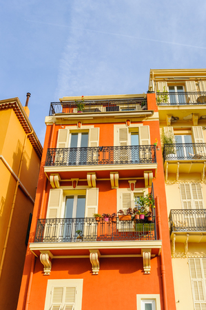 Beautiful architecture of Monaco near the Princes Palace of Monaco. Principality of Monaco is the second smallest and the most densely populated country in the world Editorial