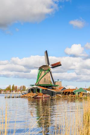 Windmill in Zaanse Schans, quiet village in Netherlands, province North Holland