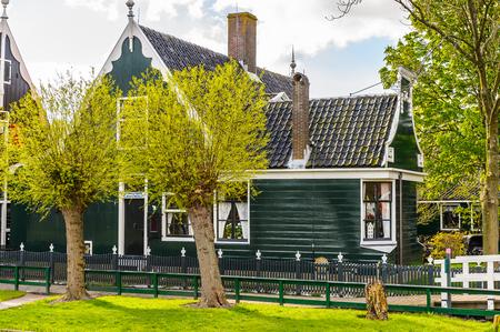 Typical houses of Zaanse Schans, quiet village in Netherlands