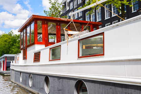 Boat floating in AMsterdam, Netherlands