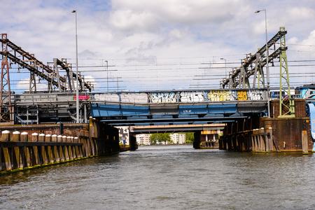 Railway bridge in AMsterdam, Netherlands.