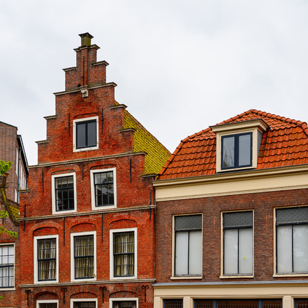 Architecture of the central square in Haarlem, Netherlands