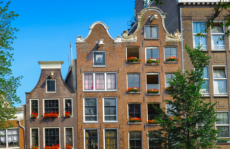 Typical view of the bend buildings in Amsterdam, Netherlands Stock Photo