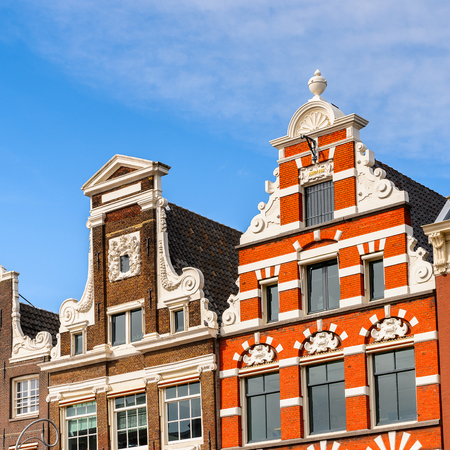 Typical bend houses in AMsterdam, Netherlands Stock Photo