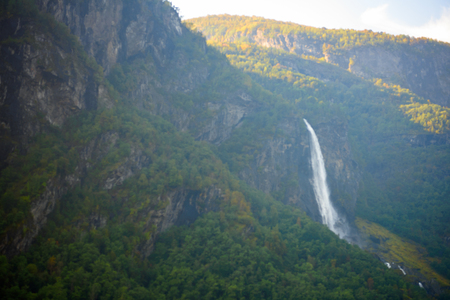 Waterfall on the mountains of Norway Stock Photo