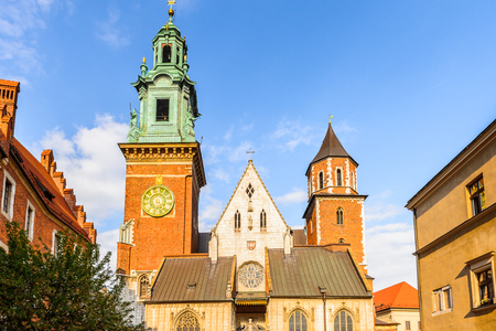 Wawel Cathedral in the Wawel Royal Castle in Krakow, Poland 免版税图像