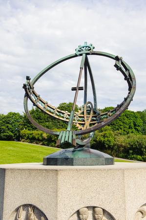 Astronomy clock, Frogner park, Oslo, Norway Stock Photo