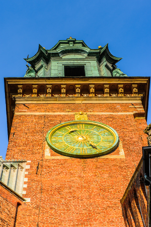 Clock tower of the Wawel Royal Castle in Krakow, Poland
