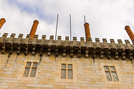 Chimney at the Duke of Braganzas Palace of Historic Centre of Guimaraes, Portugal. Stock Photo