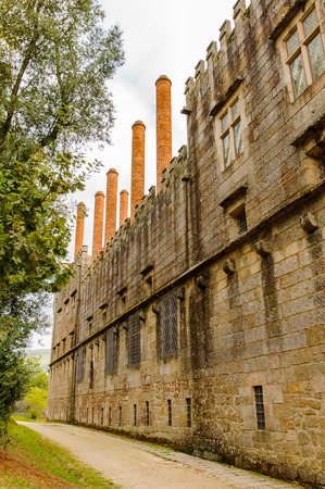 Chimney at the Duke of Braganzas Palace of Historic Centre of Guimaraes, Portugal. UNESCO World Heritage