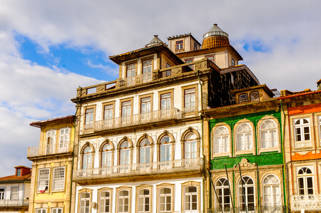 Architecture of the  Toural square of Historic Centre of Guimaraes, Portugal. Banque d'images