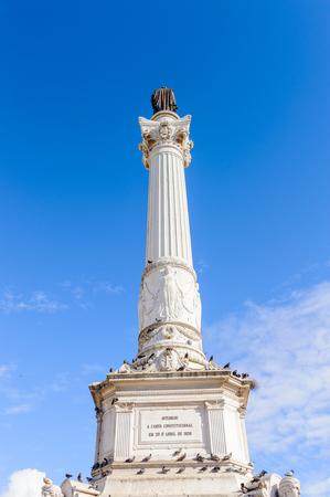 Column of Pedro IV on Rossio Square (Pedro IV Square) in Lisbon, Portugal.