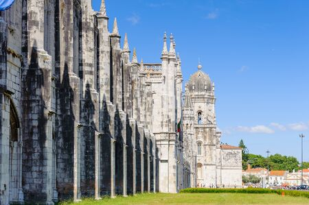 Part of the Jeronimos Monastery or Hieronymites Monastery in Lisbon, Portugal.