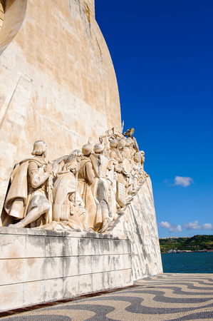 The portuguese discoveries monument, Lisbon, Portugal. The monument celebrates the Portuguese Age of Discovery in 15th and 16th centuries. Stock Photo