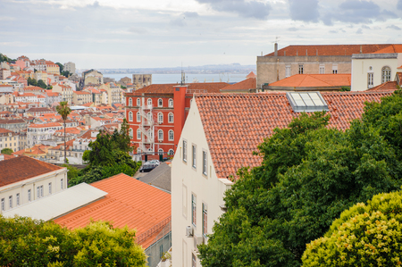 Beautiful panoramic view of Lisbon, Portugal. Lisbon is the westernmost large city Europe and the seventh-most-visited city in Southern Europe Stock Photo