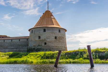 Tower of a fortress iover the lake