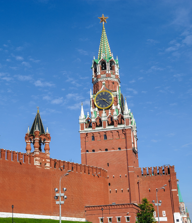 Spasskaya Tower, the main tower with a through-passage on the eastern wall of the Moscow Kremlin, which overlooks the Red Square.