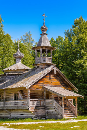 Wooden church in the Museum of Wooden Architecture Vitoslavlitsy, Vitoslavitsy, Novgorod District, Russia