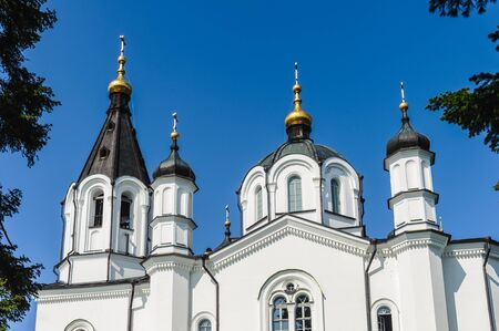 All Saints Church complex on the Valaam (Valamo), an archipelago of Lake Ladoga,Republic of Karelia, Russian Federation. Stock Photo