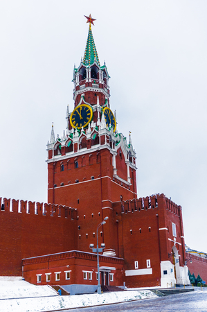 Savior tower of Kremlin on the Red Square in Winter