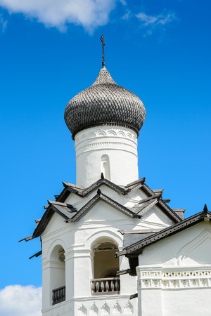 Transfiguration Monastery on a sunny day in the town of Staraya Russa, a town in Novgorod District, Russia Editorial