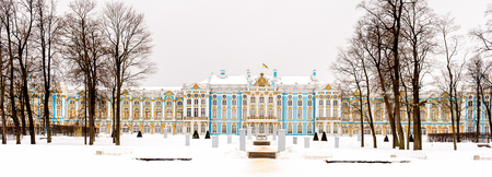 Winter panorama of The Catherine Palace is a Rococo palace located in the town of Tsarskoye Selo (Pushkin), 25 km south-east of St. Petersburg, Russia.