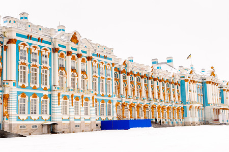 The Catherine Palace in winter, a Rococo palace located in the town of Tsarskoye Selo (Pushkin), 25 km south-east of St. Petersburg, Russia.
