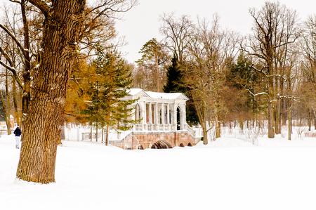 Palladian bridge.Ekaterininsky Park, Tsarskoe Selo, Russia