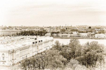 Building in black and white of over the river Neva in Saint Petersburg
