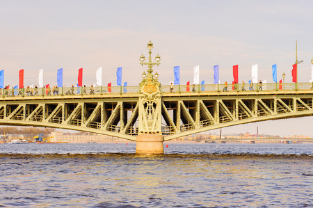 Troitskiy bridge, one of the bridges of St. Petersburg, Russia