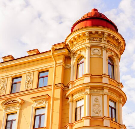 Beautiful facade of a building in St. Petersburg Stock Photo