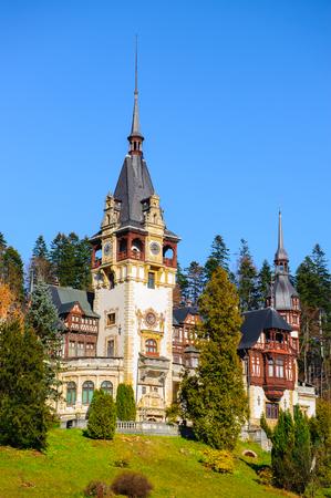 Peles Castle landscape, Carpathian mountains, Romania