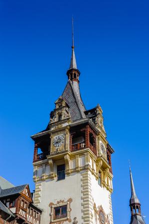 Part of the Peles Castle, a Neo-Renaissance castle in the Carpathian Mountains of Romania Editorial