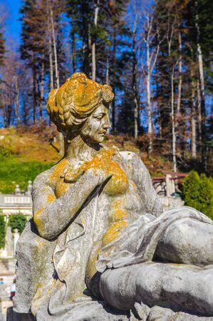 Statue in the garden of the Peles Castle, Carpathian mountains, Romania