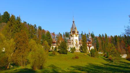 Landscape of the Peles Castle, a Neo-Renaissance castle in the Carpathian Mountains of Romania