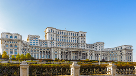 Palace of the Parliament (Palatul Parlamentului), Bucharest, Romania.  Palace is the worlds largest civilian building with an administrative function and heaviest building.