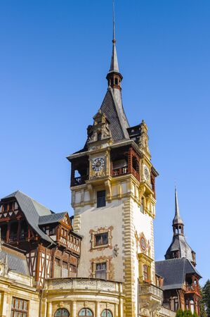 Tower of the Peles Castle, a Neo-Renaissance castle in the Carpathian Mountains of Romania Editorial