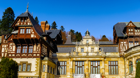 Peles Castle, a Neo-Renaissance castle in the Carpathian Mountains of Romania Editorial