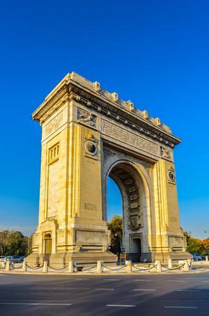 Arcul de Triumf, a triumphal arch, the northern part of Bucharest, on the Kiseleff Road