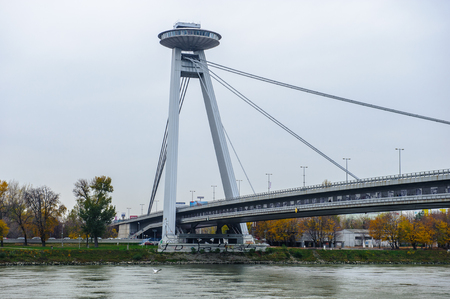 Novy most (New Bridge, Bridge of SNP � Slovak National Uprising), Bratislava, Slovakia Editorial