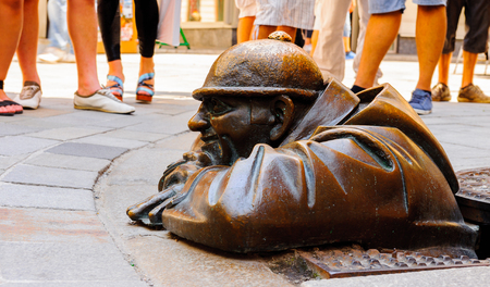 Monument to the Plumber, Bratislava, Slovakia Editorial